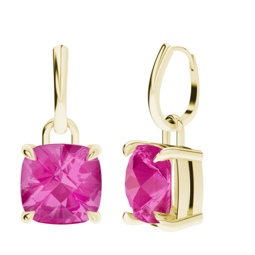 Cushion Checkerboard Pink Sapphire Silver Drop Earrings