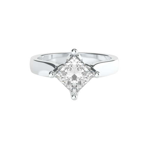 Angled Princess Cut Solitaire 14ct White Gold Engagement Ring - 'Granada'