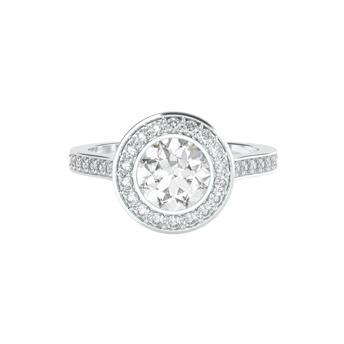 Brilliant Cut Bezel-Set Diamond Halo 14ct White Gold Engagement Ring - 'Venice'