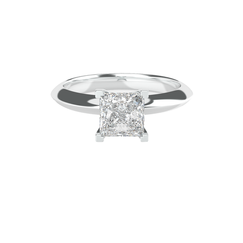 Princess Cut Picture Frame Clawed Solitaire 14ct White Gold Engagement Ring - 'Roma'