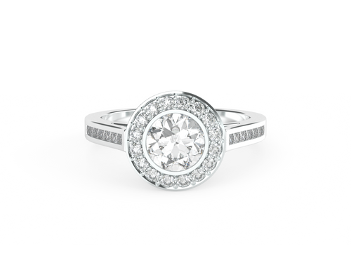 Brilliant Cut Bezel-Set Diamond Halo 14ct White Gold Engagement Ring - 'Paris'
