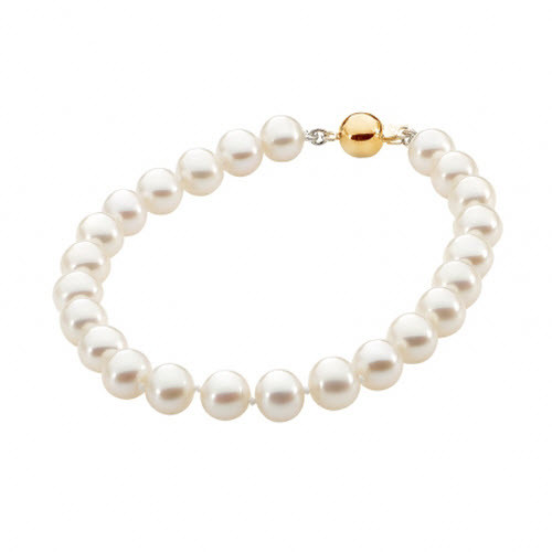 White Pearl Bracelet in Yellow Gold Clasp