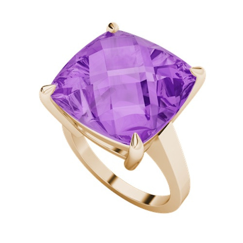 Cushion Checkerboard Amethyst Ring 9ct Rose Gold