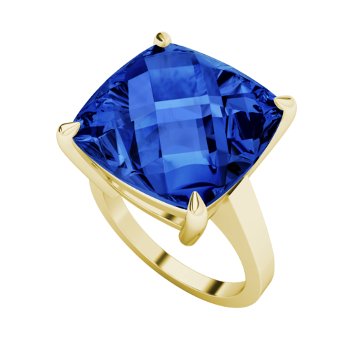 Cushion Checkerboard Sapphire Cocktail Ring 9ct Yellow Gold