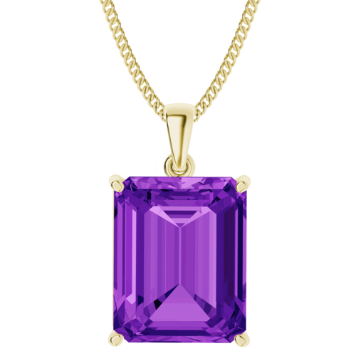Emerald Cut Amethyst 9ct Yellow Gold Necklace