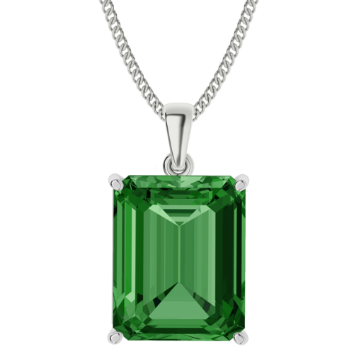 Emerald Gemstone Sterling Silver Necklace