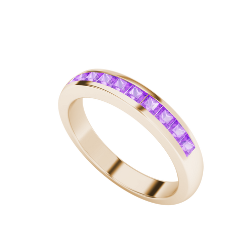 Princess Cut Purple Sapphire Channel Ring 9ct Rose Gold