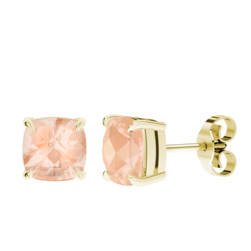 Cushion Checkerboard Morganite Stud Earrings 9ct Yellow Gold