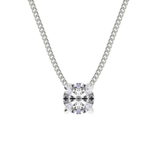 Diamond Solitaire Pendant 18ct White Gold