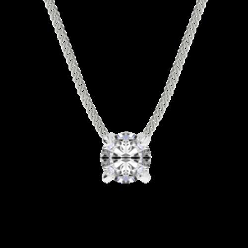 Diamond Solitaire Pendant 18ct White Gold