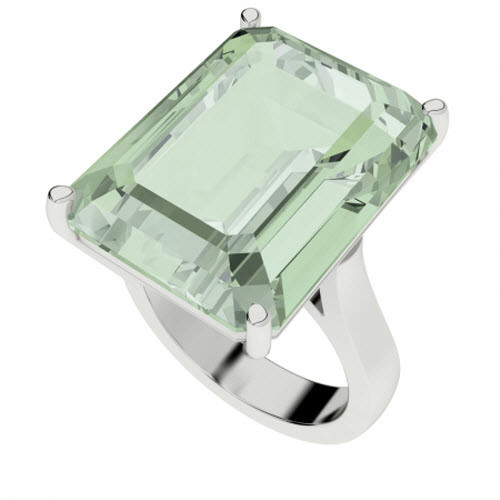 Green Amethyst Sterling Silver Cocktail Ring