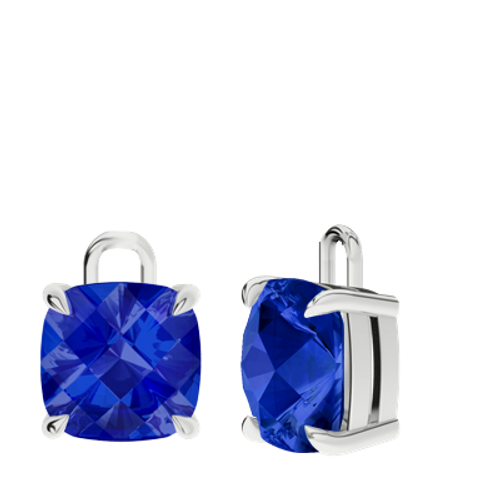 Blue sapphire Sterling silver Checkerboard Earrings - drops only