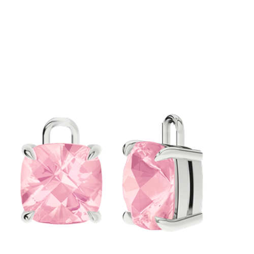 Rose quartz 9ct white gold checkerboard earrings - drops only