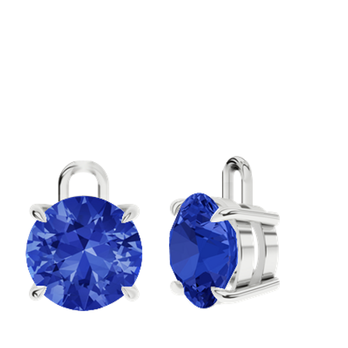 Blue Sapphire Sterling Silver Round Brilliant Earrings - Drops Only