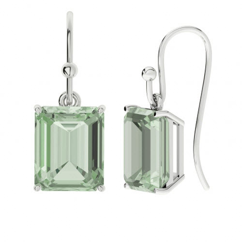 Emerald Cut Green Amethyst Sterling Silver Drop Earrings