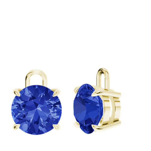 Blue Sapphire 9ct Yellow Gold Round Brilliant Earrings - Drops Only