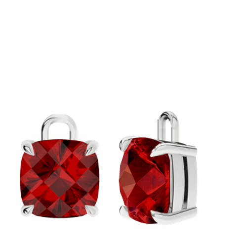 Ruby (cr.) Sterling Silver Checkerboard Earrings - Drops Only