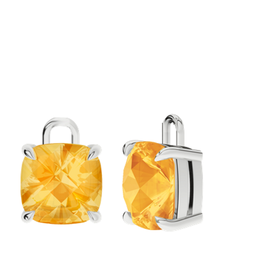 Citrine Sterling Silver Checkerboard Earrings - Drops Only