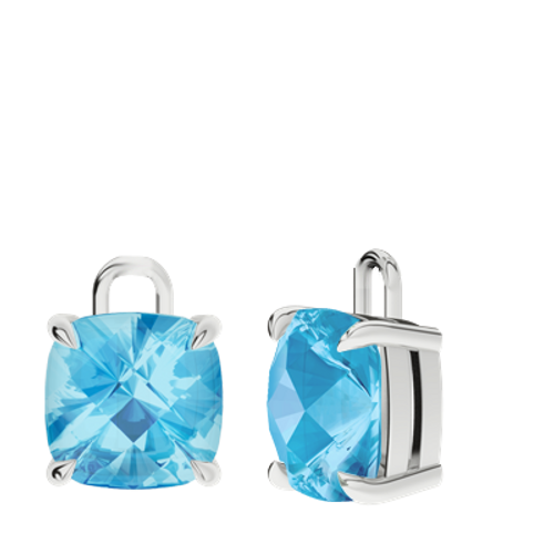 Blue Topaz Sterling Silver Checkerboard Earrings - Drops Only