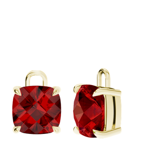 Ruby (cr.) 9ct Yellow Gold Checkerboard Earrings - Drops Only