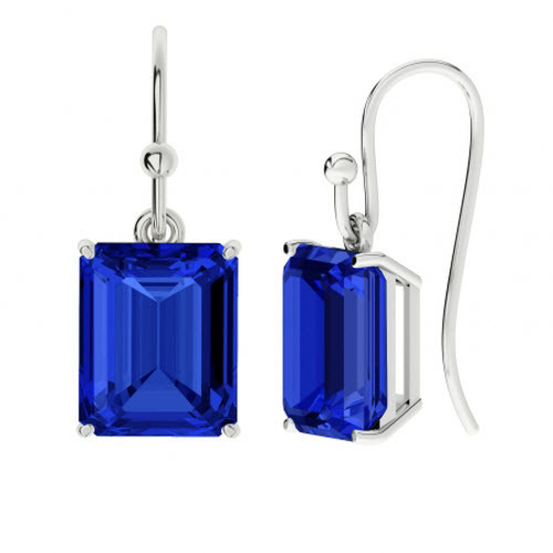 Blue Sapphire Sterling Silver Drop Earrings