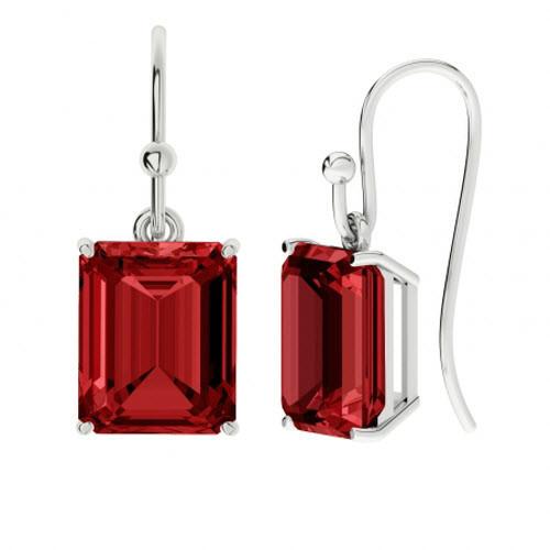 Ruby Sterling Silver Drop Earrings