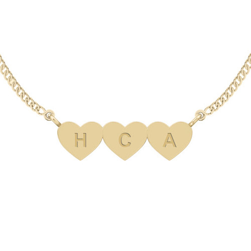 Three Joined Hearts Necklace - 9ct Yellow Gold