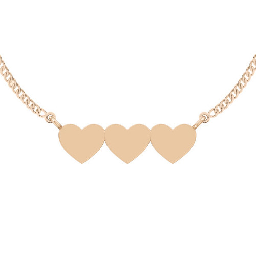 Three Joined Hearts Necklace - 9ct Rose Gold