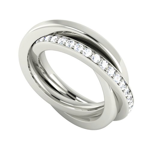 Diamond Russian Wedding Ring - 9ct White Gold