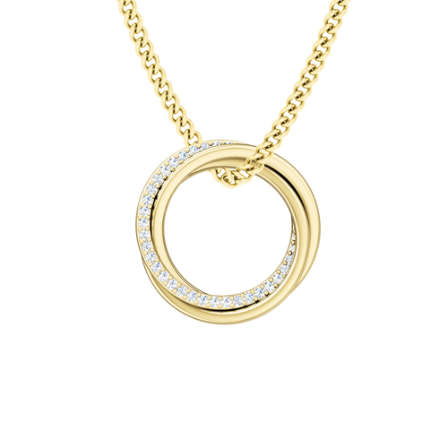 Diamond Russian Ring Necklace  - the 'Elizabeth' - 9ct Yellow Gold