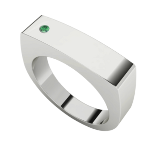 Men's Rectangular Signet Ring Silver - Emerald