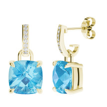 Blue Topaz Yellow Gold and Diamond Drop Earrings