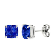 sapphire-checkerboard-silver-stud-earrings