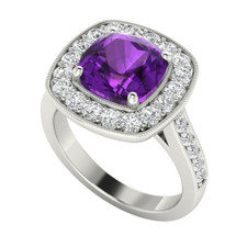 White gold cushion amethyst diamond halo ring