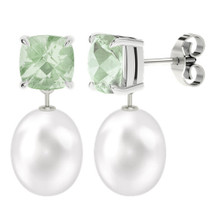 Green amethyst cushion checkerboard studs with drop pearl - white gold