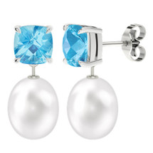 Blue topaz cushion checkerboard studs with drop pearl - white gold