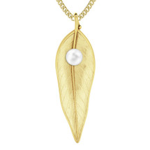 Terre-et-Mer leaf & pearl necklace - yellow gold-plate