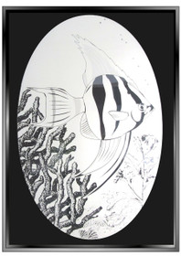 Angel Fish Etched Pattern Decorative Window Decal