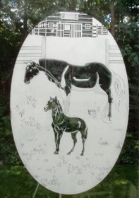Horse Ranch Etched Pattern Decorative Window Decal