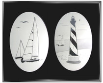 Sailboats Combo Pack of Two Static Cling Window Decals