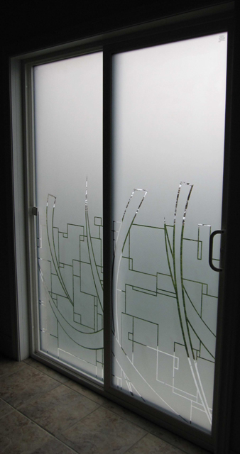 decorative privacy film with abstract squares and crecents graphic cut in