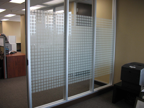 interior office glass privacy with decorative window film Toronto
