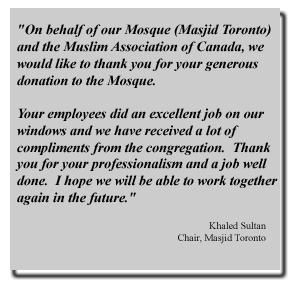 Masjid Toronto testimonial to Apex Window Films for job well done