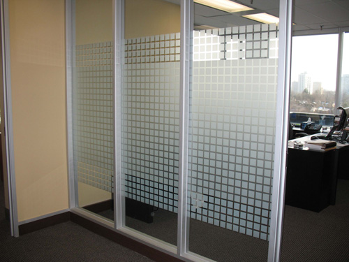 after decorative privacy window film geometric Toronto installation