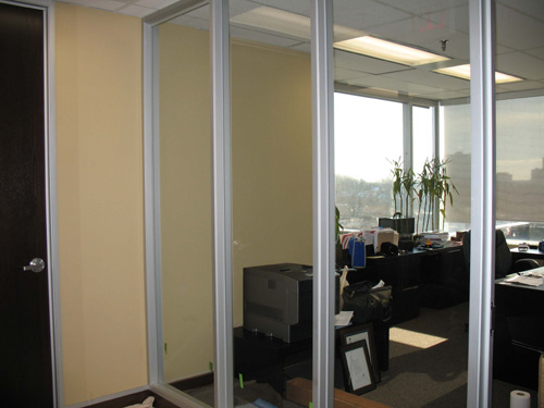 interior office glass before privacy window film