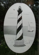 Cape Hatteras Lighthouse Etched Pattern Decorative Window Decal