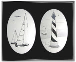 Sailboats Combo Pack of Two Etched Pattern Static Cling Window Decals
