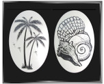 Tropical Seaside Combo Pack of Two Etched Pattern Static Cling Window Decals