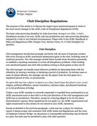 Club Discipline Regulations