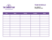The Longest Day Team Schedule Form